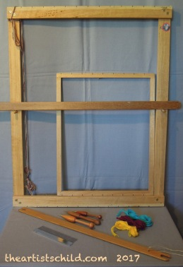 Basic Frame Looms; shed stick; shuttle; comb beater; tapestry bobbins and wools