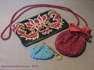 Cross Stitch Purse, Uzbekistan (top left); Red Beaded Purse, India (right); Beaded Crotchet Purse, Japan, 1960s (Bottom)