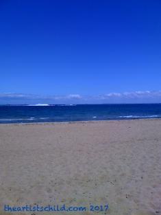 February beach scene