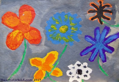 My childhood painting of flowers